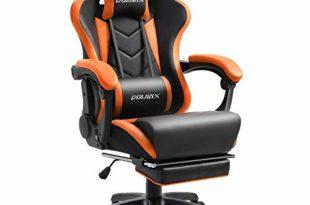 4133C+77pBL 310x205 - Dowinx Gaming Stuhl Ergonomischer Racing Stil Lehnstuhl mit Massage Lordosenstütze, Büro Sessel für Computer-PU-Leder-E-Sport-Gamer Stühle mit Ausziehbarem Fußraste (schwarz&orange)