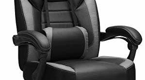 415CWDOaeOL 299x165 - SONGMICS Gamingstuhl, Bürostuhl mit Fußstütze, Schreibtischstuhl, ergonomisches Design, verstellbare Kopfstütze, Lendenstütze, bis zu 150 kg belastbar, Schwarz-Grau, OBG77BG