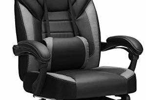 415CWDOaeOL 299x205 - SONGMICS Gamingstuhl, Bürostuhl mit Fußstütze, Schreibtischstuhl, ergonomisches Design, verstellbare Kopfstütze, Lendenstütze, bis zu 150 kg belastbar, Schwarz-Grau, OBG77BG