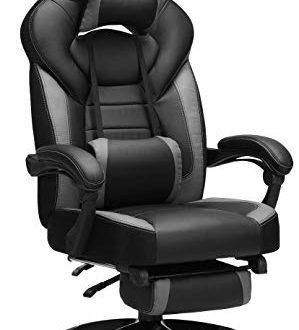 415CWDOaeOL 299x330 - SONGMICS Gamingstuhl, Bürostuhl mit Fußstütze, Schreibtischstuhl, ergonomisches Design, verstellbare Kopfstütze, Lendenstütze, bis zu 150 kg belastbar, Schwarz-Grau, OBG77BG