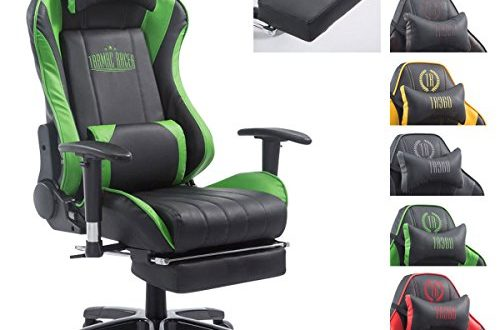 51T0Enk6EGL 500x330 - CLP XL Racing Bürostuhl Shift X2 mit Kunstlederbezug l Höhenverstellbarer Drehstuhl mit und ohne Fußstütze l Gamingstuhl mit Laufrollen schwarz/grün, mit Fußablage