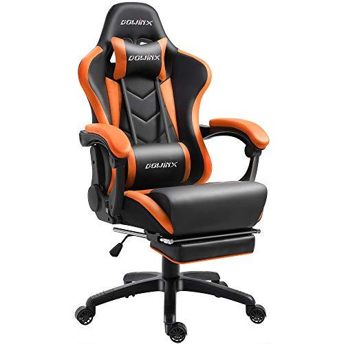 Dowinx Gaming Stuhl Ergonomischer Racing Stil Lehnstuhl mit Massage Lordosenstütze, Büro Sessel für Computer-PU-Leder-E-Sport-Gamer Stühle mit Ausziehbarem Fußraste (schwarz&orange)