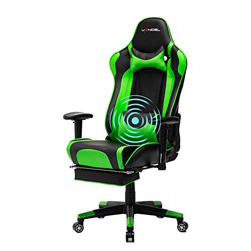 EVANCEL Gaming Stuhl in E-Sports Racing Style Massage Teillenkissen Computerstuhl Ergonomisches Design schwenkbarer mit Verstellbaren Armlehnen und Fußstütze, Wippfunktion mit PU Leder (Grün)