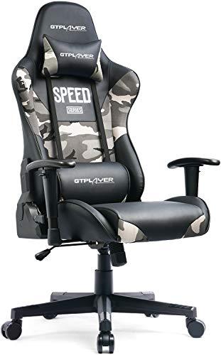 GTPLAYER Gaming Stuhl Bürostuhl Schreibtischstuhl PC Stuhl Kunstleder Gamer Stuhl höhenverstellbarer Chefsessel Ergonomisches Design