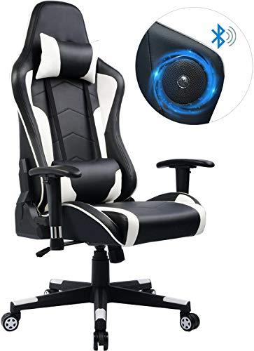GTPLAYER Gaming Stuhl Bürostuhl Schreibtischstuhl UMIT Serie Kunstleder Drehstuhl Chefsessel Höhenverstellbarer Gamer Stuhl (Weiß)