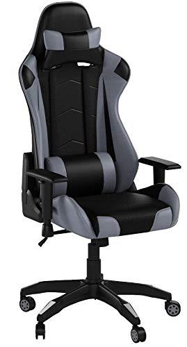 Racing Hochwertiger Bürostuhl Gaming Stuhl, Ergonomischer höhenverstellbar Schreibtischstuhl Chefsessel Computerstuhl Drehstuhl mit einstellbaren Armlehnen, Kunstleder PU Sportsitz Game Chair (Grau)