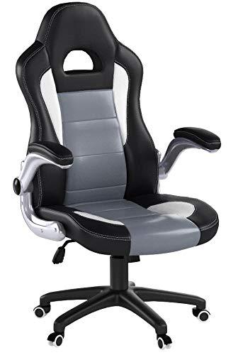 SONGMICS Bürostuhl Chefsessel Drehstuhl Computerstuhl Höhenverstellung office Stuhl Polsterung wegklappbare Armlehne OBG28G