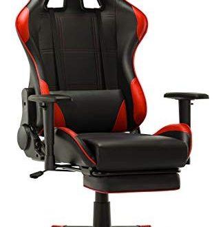 IntimaTe WM Heart Gaming Stuhl, Racing Gamer Stuhl,Ergonomischer Bürostuhl Computerstuhl Drehstuhl mit Fußstütze (Rot)