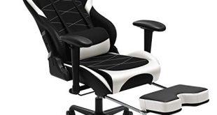 SONGMICS Gaming Stuhl mit Fussstuetze 150 kg Buerostuhl Schreibtischstuhl Lendenkissen 310x165 - SONGMICS Gaming Stuhl mit Fußstütze, 150 kg, Bürostuhl, Schreibtischstuhl, Lendenkissen, Kopfkissen, hohe Rückenlehne, ergonomisch, Stahl, Kunstleder, atmungsaktives Meshgewebe, schwarz-weiß RCG52BW