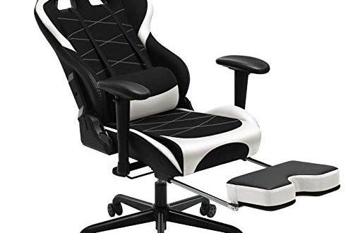 SONGMICS Gaming Stuhl mit Fussstuetze 150 kg Buerostuhl Schreibtischstuhl Lendenkissen 500x330 - SONGMICS Gaming Stuhl mit Fußstütze, 150 kg, Bürostuhl, Schreibtischstuhl, Lendenkissen, Kopfkissen, hohe Rückenlehne, ergonomisch, Stahl, Kunstleder, atmungsaktives Meshgewebe, schwarz-weiß RCG52BW